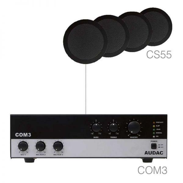 Audac AGRO54B Lautsprecher Set 4xCS55+COM3 schwarz