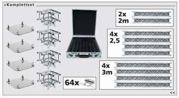 Traversenset F-34: 4x3,0+4x2,5+2x2,0 Meter + Ecken