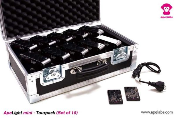 APE LABS ApeLight Mini, 10x Akku LED Spot mit Case