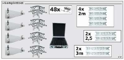 Traversenset F-33: 2x3,0+2x2,5+4x2,0 Meter + Ecken